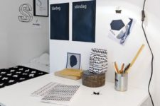 18 a Nordic home office nook with a chalkboard calendar – these black stickers are for each day of the week