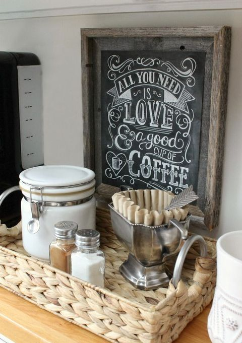 a chalkboard sign to make your tea, coffee or spice space is a cool idea that can be easily DIYed