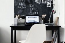 19 a Nordic home office with a large chalkboard used as a memo board, wiht pics, notes and other stuff