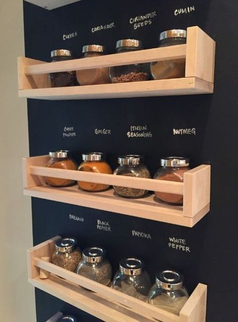 a chalkboard wall with spice racks is a perfect idea - you can mark each jar without any labels