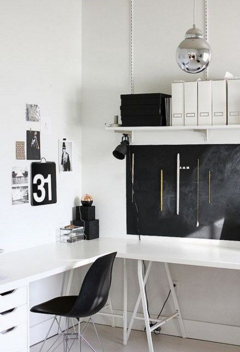 a Scandinavian home office with a chalkboard for making marks and a gallery wall in black and white