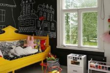 20 a modern kid's bedroom with chalkboard walls allows chalking everywhere your children want without spoiling anything
