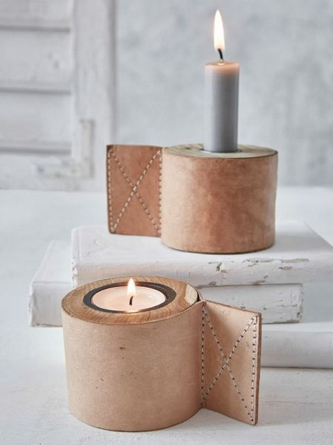 leather candle holder wraps will add interest and texture to your plain candle holders