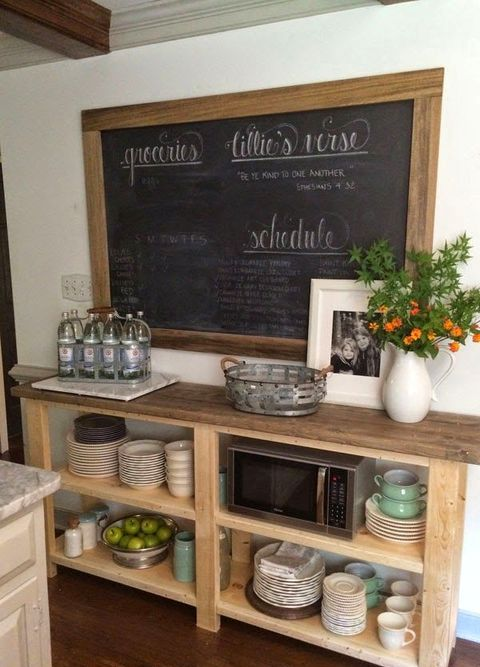 a large chalkboard used to leave notes, chalk down recipes and other interestign information in the kitchen