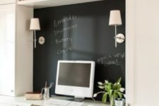 21 a small home office nook with a chalkboard piece that is used as a memo board – for marks, notes and other stuff, a great way to declutter the space