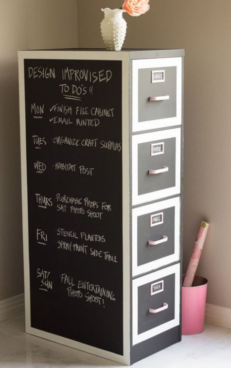 a file cabinet with chalkboard   mark each drawer with what you place inside