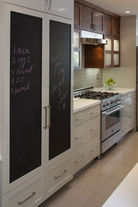 a pantry cabinet with chalkboard doors is perfect   you can write down everything that is inside or what you may need to put