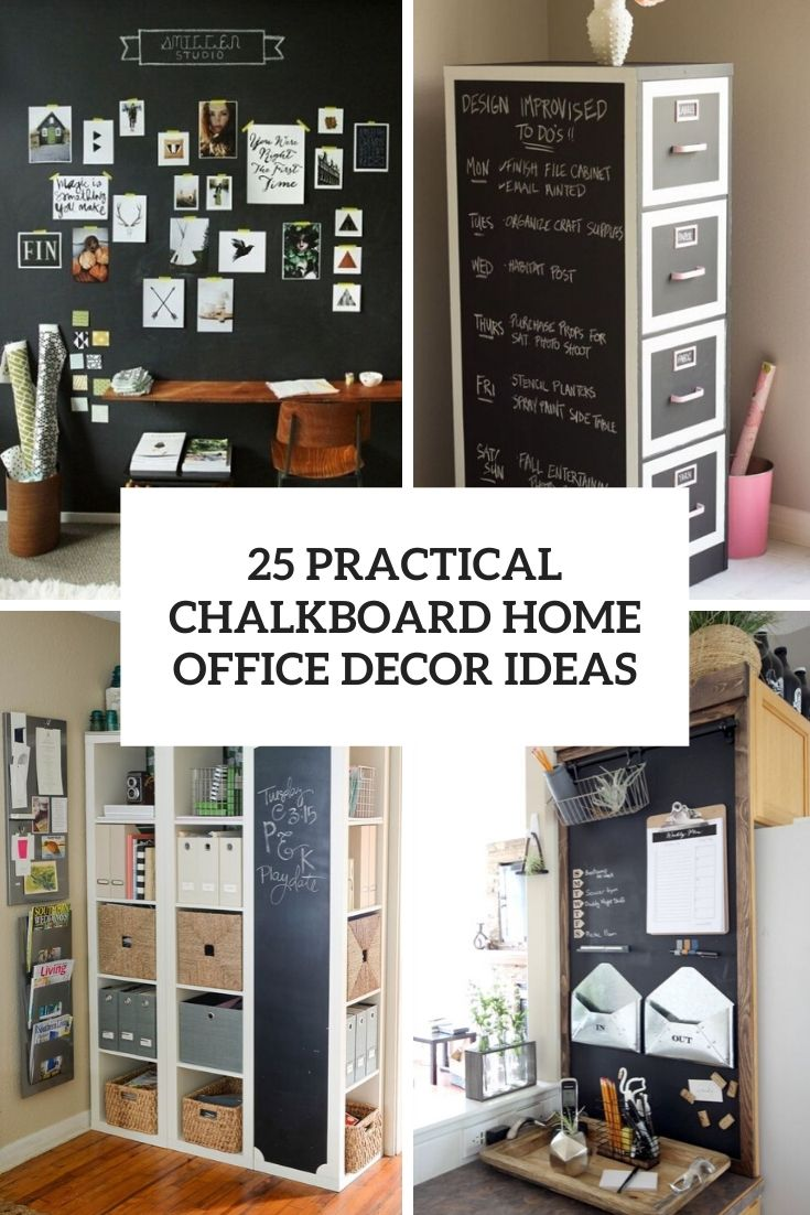 practical chalkboard home office decor ideas cover