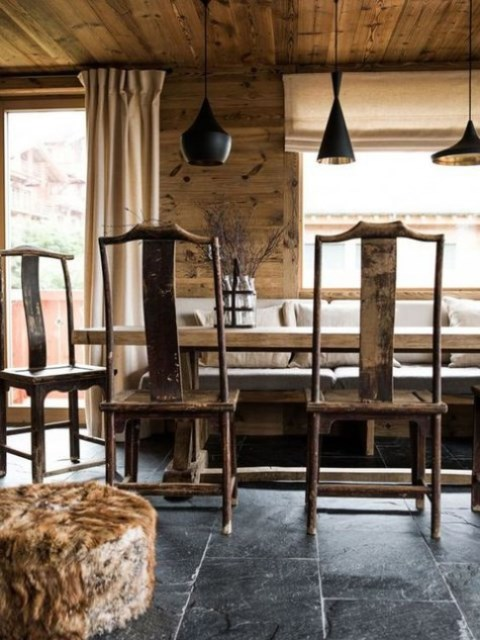 a cozy chalet dining space with wooden walls, an arrangement of black lamps, vintage furniture, a stone floor, a faux fur ottoman