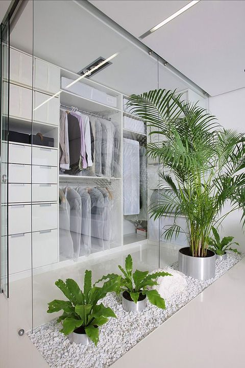 a minimalist white closet with glass doors, white drawers, holders for hangers and open shelves