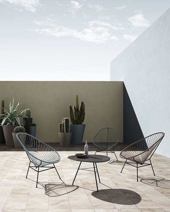 a minimalsit terrace with a black coffee table, wicker chairs and succulents and cacti in statement planters