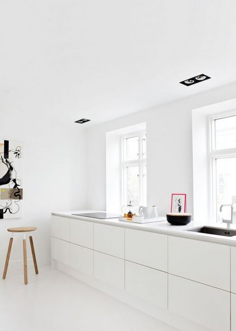 a simple minimalist kitchen with sleek white cabinets and white countertops plus some black touches for drama
