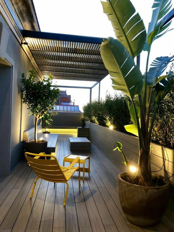 a small minimalist terrace with a wooden deck and furniture, built-in lights and statement plants in concrete pots