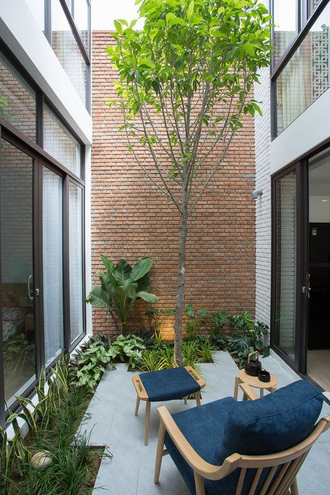 a tiny minimalist patio with greenery, a tree and a chair with a footrest is very welcoming