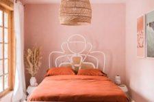 a cute boho pink bedroom design