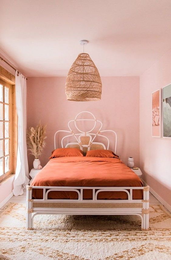 a cute boho pink bedroom design