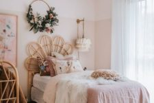 08 a boho chic bedroom with blush color block walls, pink bedding and rattan furniture is very glam
