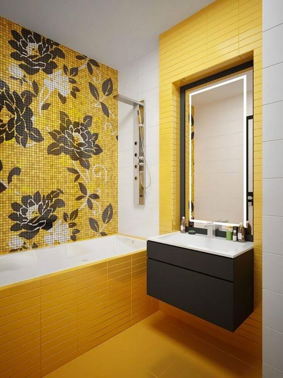 Home Design Ideas and Tips: 09 a vivacious bathroom with sunny yellow tiles and an accent floral wall plus a dark vanity and uilt in lights