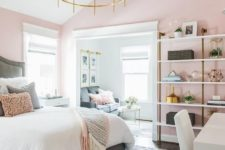14 a stylish mid-century modern bedroom with light pink walls and grey, white and gold everything is very elegant