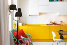 18 a minimalist kitchen with upper white cabinets and lower yellow ones feels airy, bright and fun