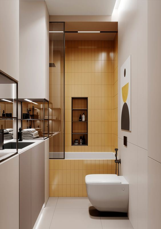 a contemporary small bathroom with all neutrals, a yellow tile bathtub zone and dark metal touches for drama