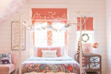 20 a fun bedroom with a light pink ceiling, a bright pink rug, a pink chair, pillow and coral Roman shades for a touch of color