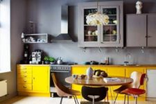 a cool grey-yellow kitchen design