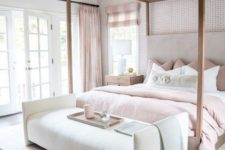 25 a refined glam neutral bedroom spruced up with blush textiles – curtains, pillows and a bedspread looks cool
