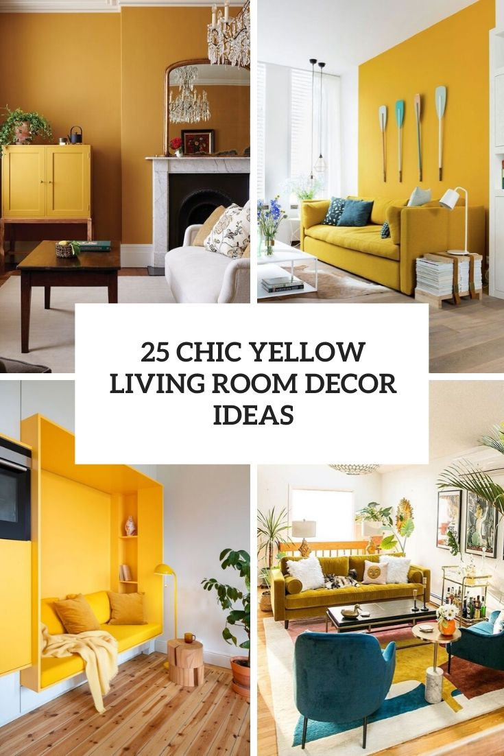 chic yellow living room decor ideas cover