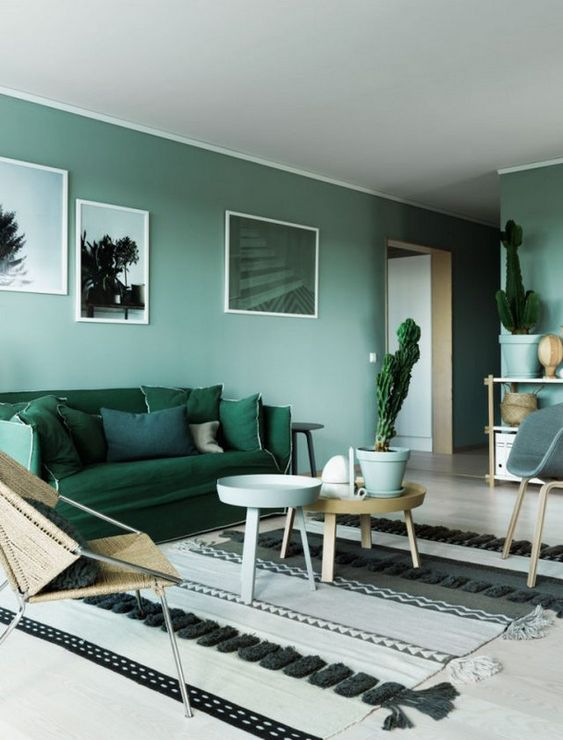 a green monochromatic living room with light green walls, an emerald sofa, green pots with cacti and artworks