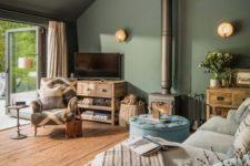 a cozy farmhouse living room design in light green shade