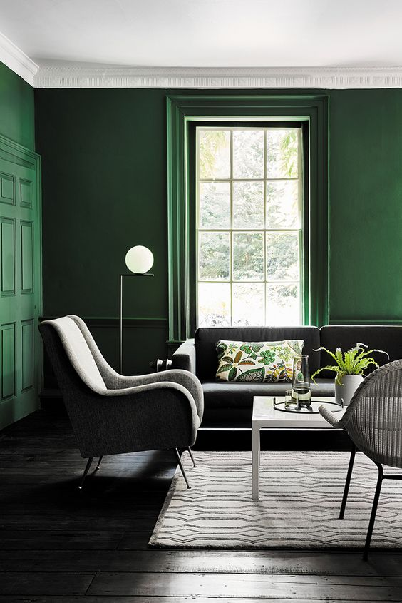 a modern living room with green walls, grey furniture, a white table and a rattan chair is light-filled