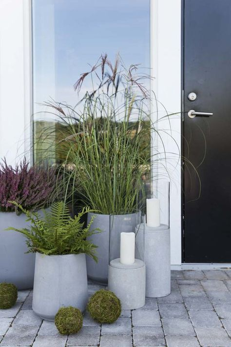 a modern porch with a black door, concrete planters with various plants, candle lanterns and moss balls for decor