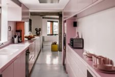 a pretty rose galley kitchen with sleek cabinets and everything built-in looks very cute and very chic