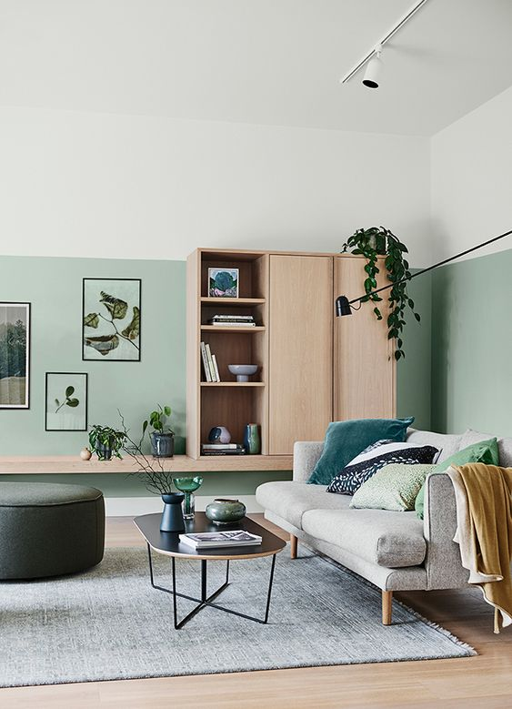 an elegant modern living room with light green walls, comfortable and chic furniture, some green pillows and plants