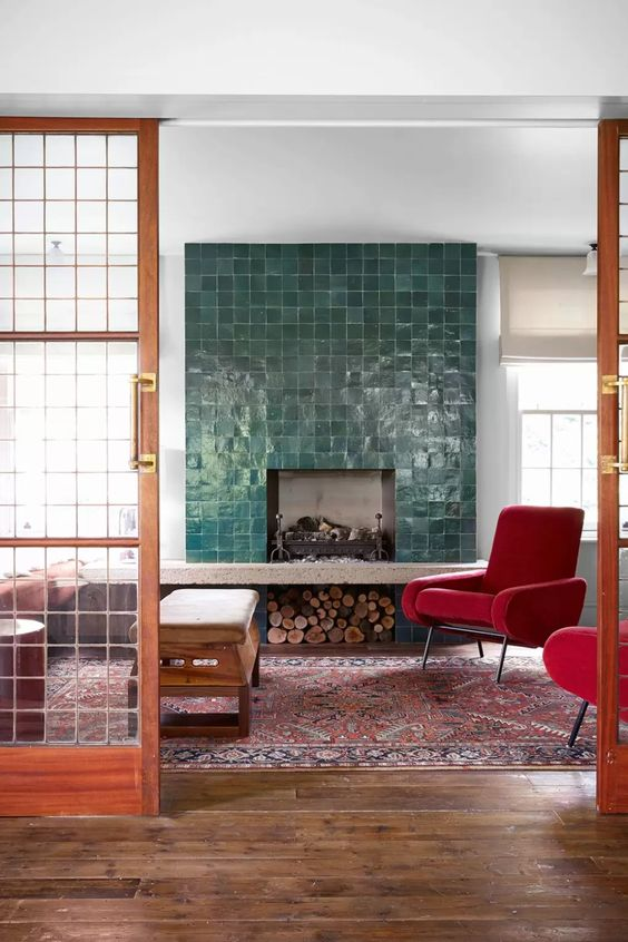 a faux fireplace can make a statement in a living room