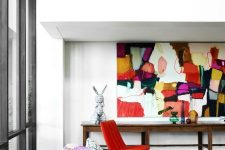 03 a gorgeous bright artwork brings much color and light to the space making it cooler and bolder