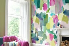 08 abstract super bold wallpaper to create an accent wall and some textiles to continue the decor theme