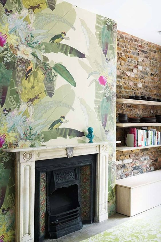 tropical wallpaper could make a cool statement in a living room