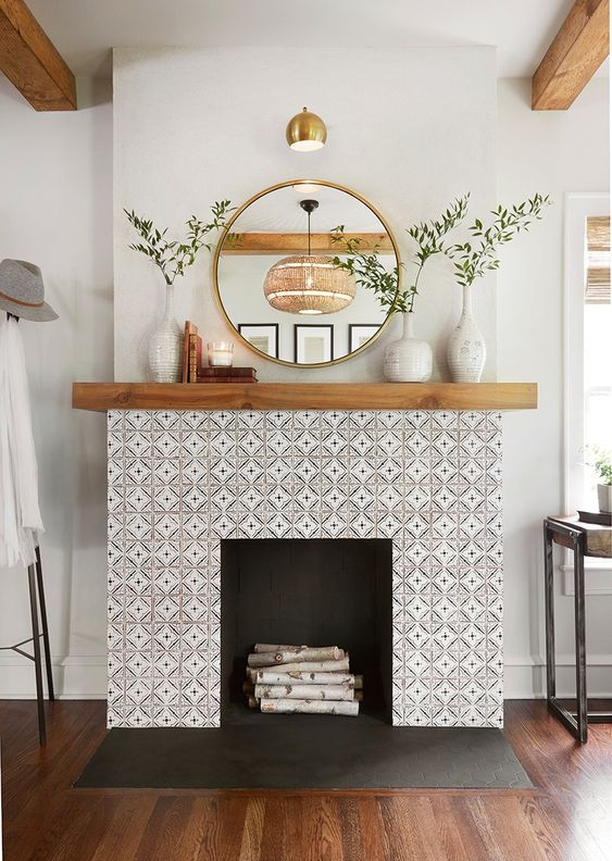 a built-in fireplace looks great covered with tiles
