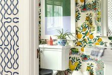 11 bright fruit wallpaper is a bold and trendy solution for a bathroom or a powder room and it brings color