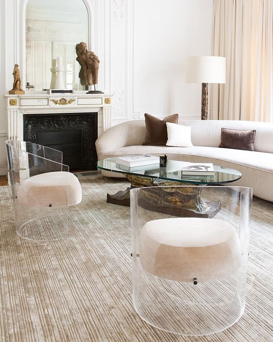 acrylic armchairs with upholstered seats seem ethereal and floating in the air
