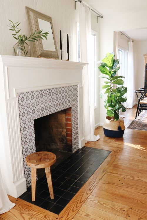 a real fireplace clad with star print grey tiles around it and with matte black ones on the floor plus a white frame and mantel