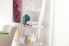22 an acrylic shelf creates a look that the objects are floating in the air