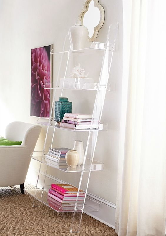 an acrylic shelf creates a look that the objects are floating in the air