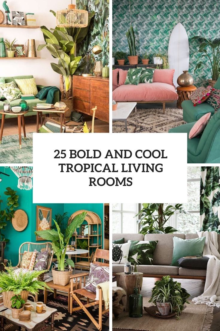 bold and cool tropical living rooms cover