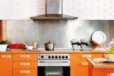 a modern bright orange kitchen design