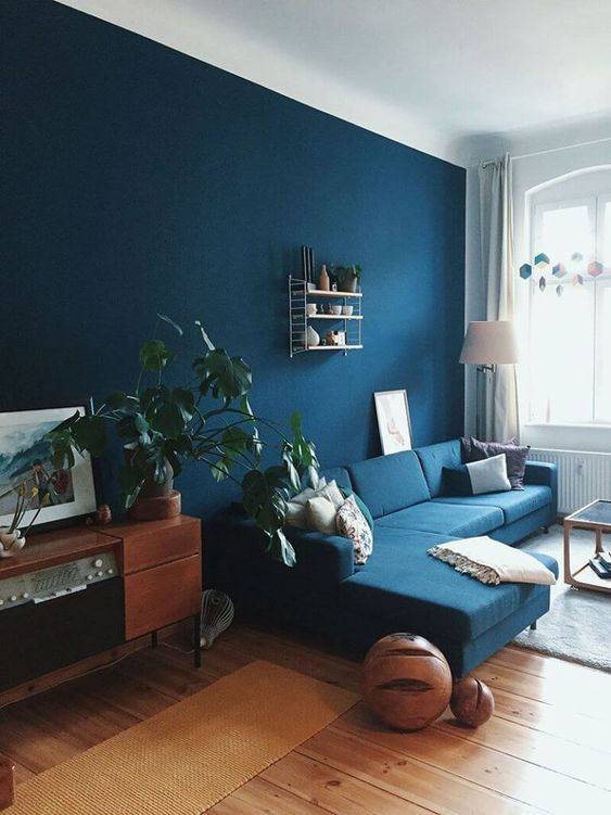 a bright living room with a navy accent wall and a sofa, wooden furniture, potted plants and geometric decor