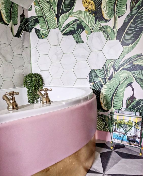 tropical bathroom design with hexagon tiles