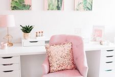 a glam tropical home office design